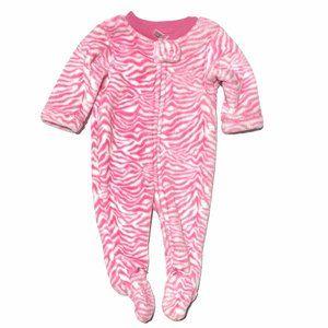 Neon Pink Zebra Print Fluffy Footed PJ's